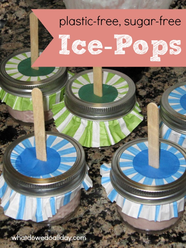plastic and sugar free popsicles with cupcake liners to catch drips
