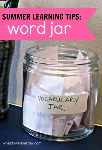 summer vocabulary learning with a word jar