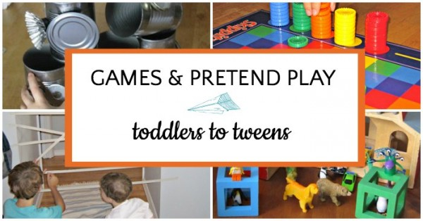 List of prompts for indoor pretend play and game ideas.