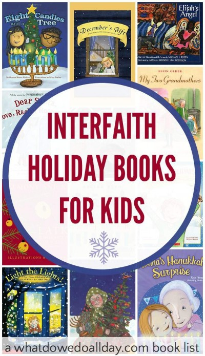 Interfaith holiday books about celebrating Christmas and Hanukkah. Great picture books for kids.