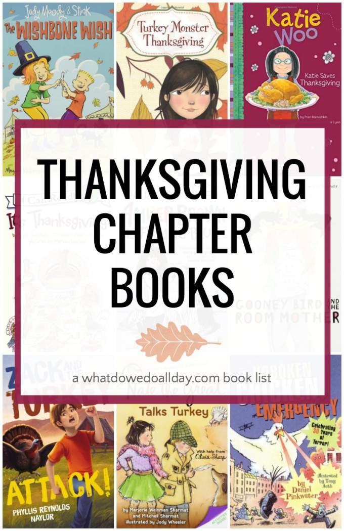 Thanksgiving chapter books for kids ages 5 and up.