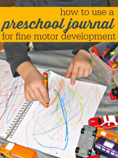 Preschool fine motor activity with a journal. Helps prepare kids for writing.
