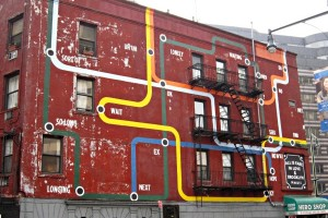 Map on the side of a Brooklyn building