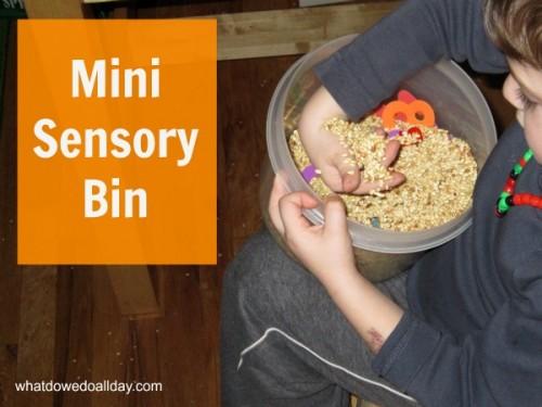 Mini sensory bin play for kids