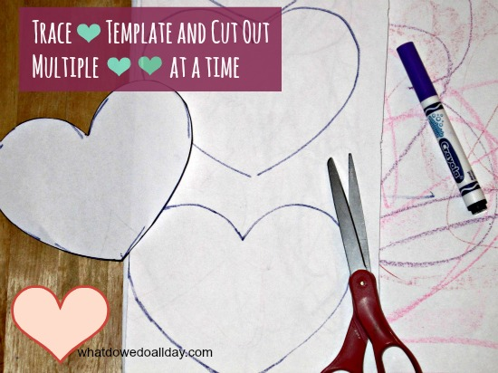 Trace heart valentine template
