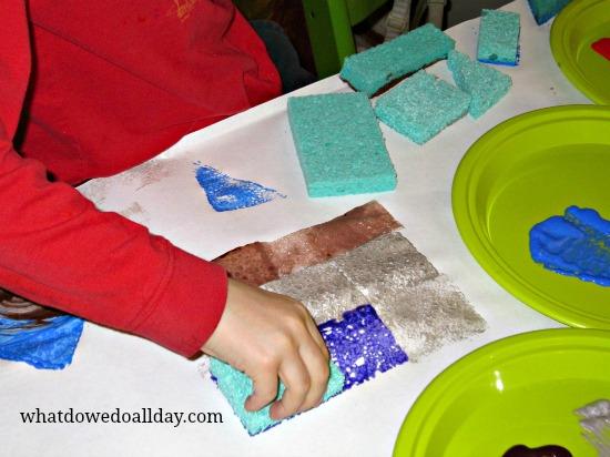 Cityscape sponge painting project for kids