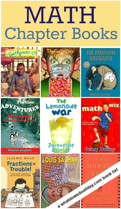 Math chapter books for kids, a list of more than 10 titles