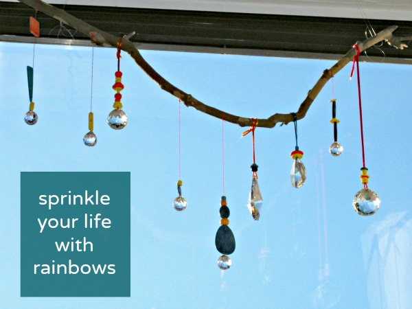 Make a rainbow mobile out of prisms to add sparkle to your world!
