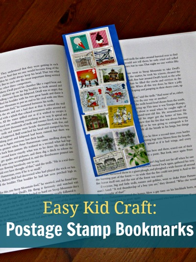 Easy postage stamp craft for kids - handmade bookmarks