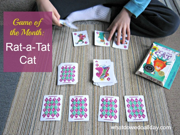 Rat-a-Tat-Cat card game from Gamewright works mental math and memory skills.