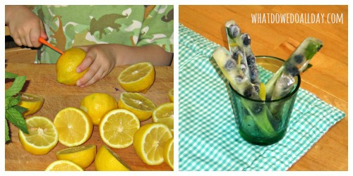 lemonade with blueberry ice sticks - fun drink for kids