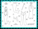 Printable mermaid paper dolls to color by Melanie Hope Greenberg.