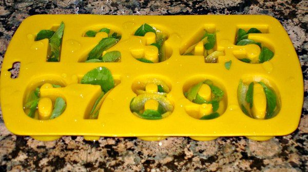 Number ice cubes with mint for lemonade.