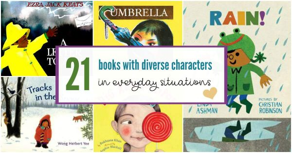 Diverse books with characters in everyday situations.