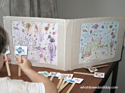 Free, printable ocean coloring page with fish and sea life puppets