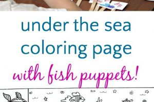 Under the sea ocean coloring page that includes fish puppets for pretend play