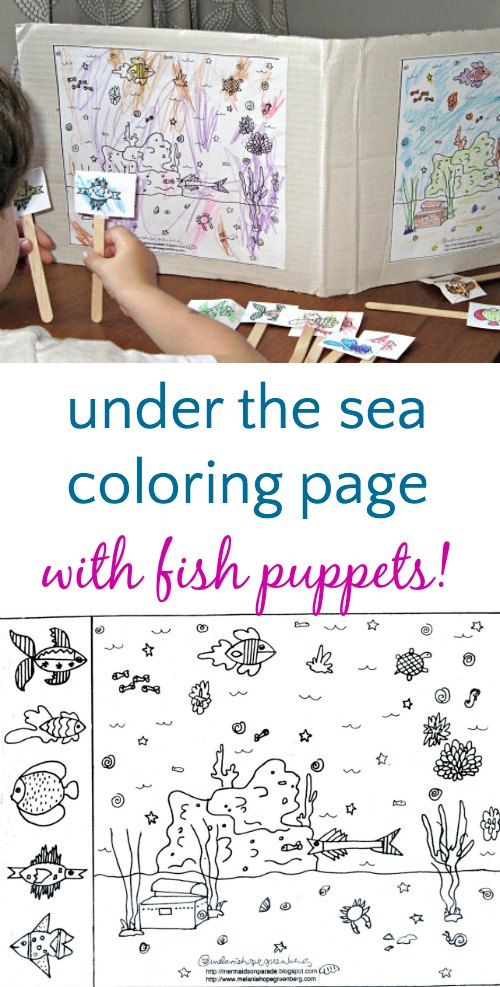 Ocean Coloring Page With Fish Puppets