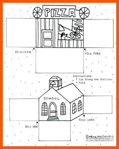 free printable building coloring page by Melanie Hope Greenberg