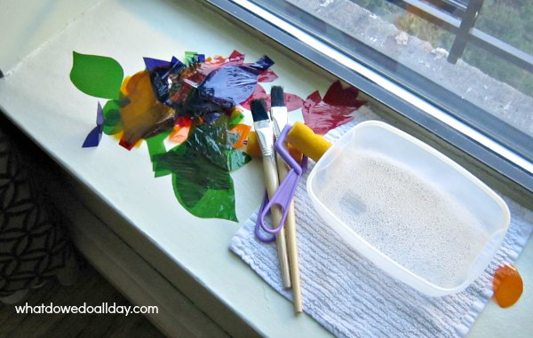 Supplies for cellophane stained glass window art project for kids