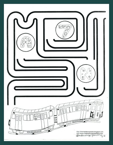Subway Train Coloring Page and Maze