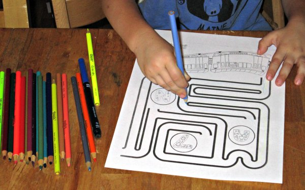 Free printable train coloring page and maze