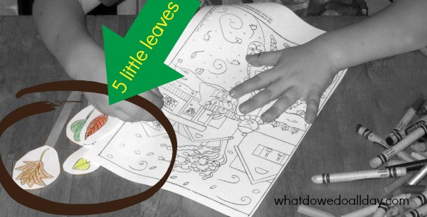 5 little leaves and Halloween coloring page