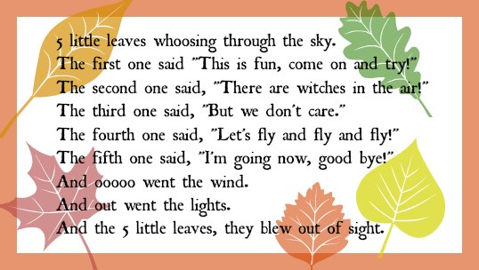 5 little leaves rhyme