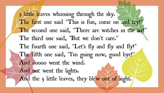 5 little leaves rhyme