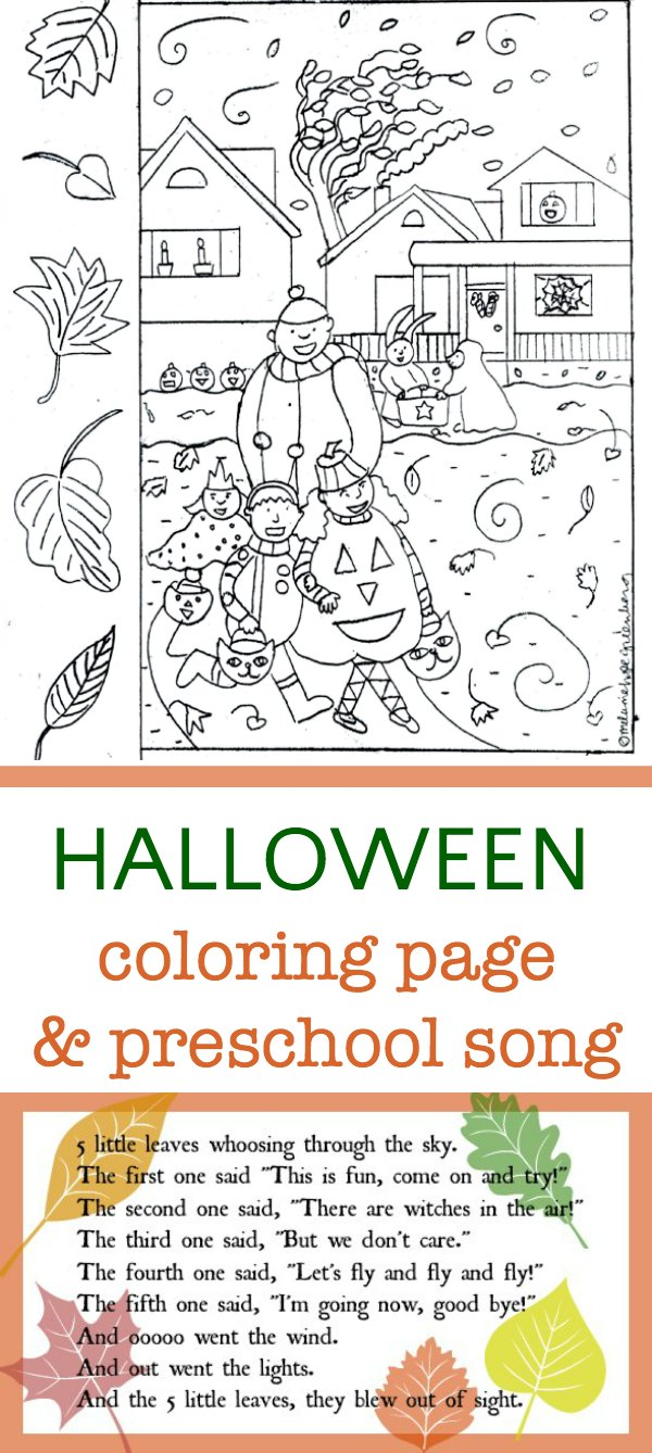Halloween coloring page and preschool song with leaf puppets