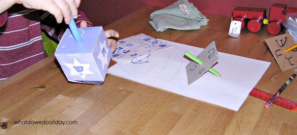 Making dreidels with kids