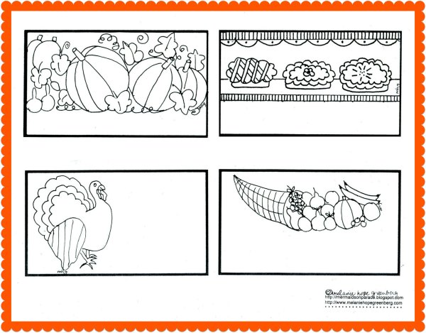 Thanksgiving Coloring Pages: Place Cards {or Thankful Cards}