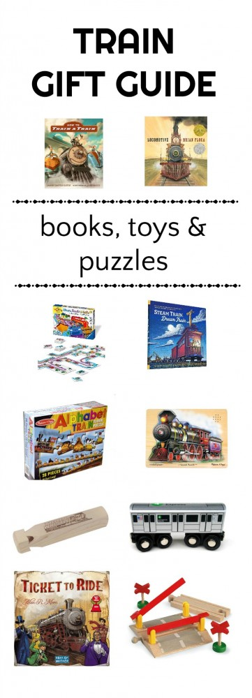 Creative and educational gifts for kids who like trains. Books, puzzles and games.