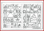 Christmas coloring page with ornaments and toys.