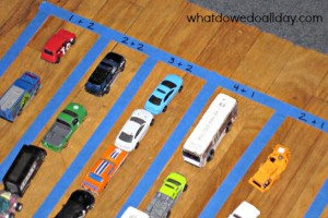 So fun for kids who love toy cars! Parking lot math.