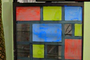 Mondrian for kids window art project