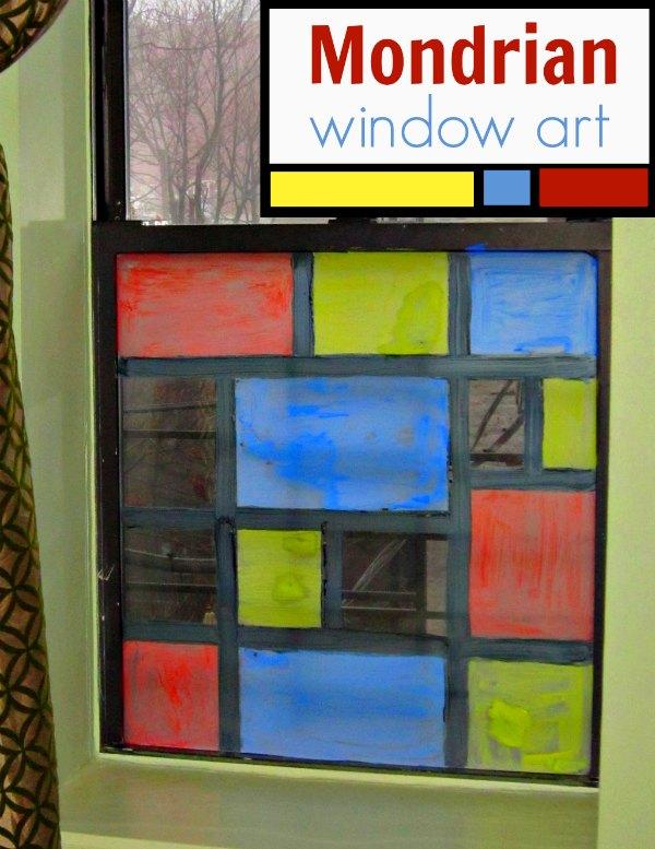 Mondrian for Kids \u201cStained Glass\u201d Window Art & Window Art Ideas for Kids