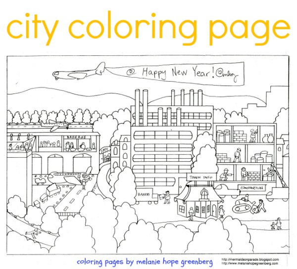 City coloring page by melanie hope greenberg