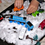 Indoor Snow Play: Toy Car Traffic Jam
