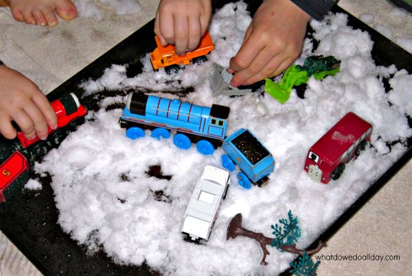 Indoor snow play with toy cars