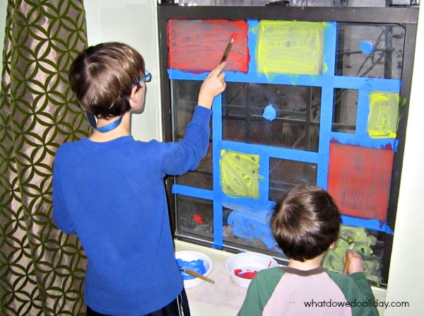 Kids faux stained glass window art project Mondrian style