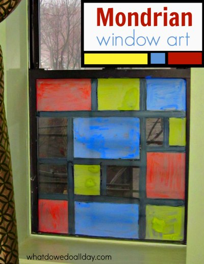 Make Mondrian for kids fun with this faux stained glass idea from whatdowedoallday.com