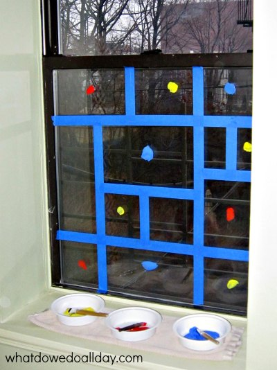 Mondrian window art project for kids
