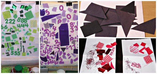 One color mixed media collage art projects for kids