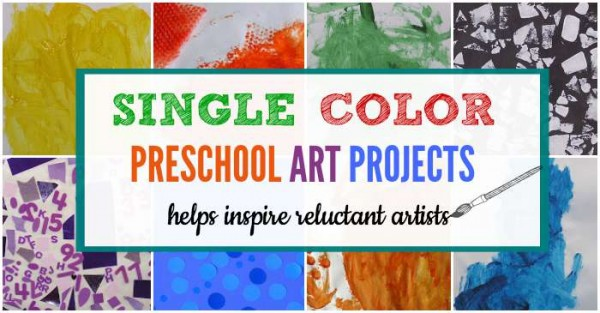 How to use single color art projects. Helps kids who say they aren't arty.