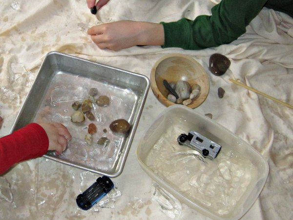 Use your freezer to make thin ice for an indoor winter activity
