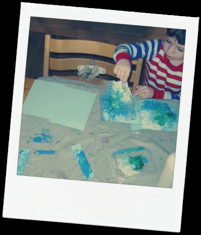 Bubble wrap art activity after school