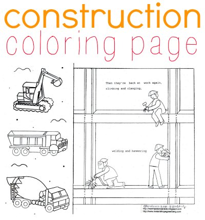 construction coloring page by childrens book illustrator - Construction Worker Coloring Page