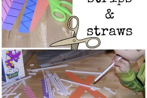 Kids practice cutting skills using strips of paper and straws