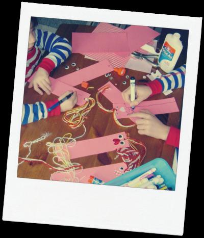 Making valentine bookmarks after school