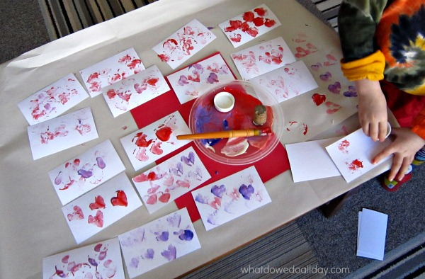 Stamped valentine cards are so easy for kids to make